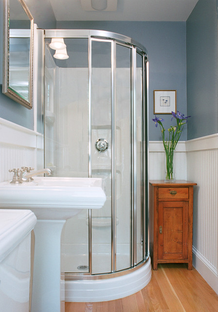 Shower Stall Kits Bathroom Traditional with Blue Wall Glass Shower Light Wood Wall Pedestal Sink