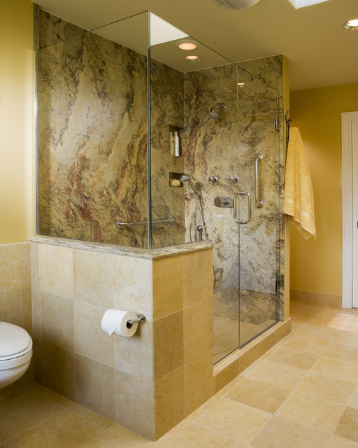 Shower Stall Kits Spaces Contemporary with Beige Built in Shelves Glass Shower Enclosure Granite Half Wall