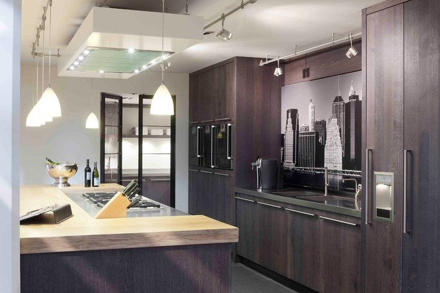 Shun Knife Kitchen Contemporary with Cooktop Gray Tile Floor Integrated Fridge Integrated Sink Long3