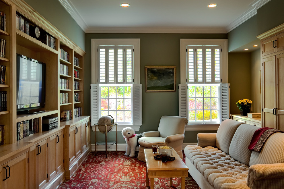 Shutter Dogs Family Room Traditional with Area Rug Baseboards Coffee Table Country Home