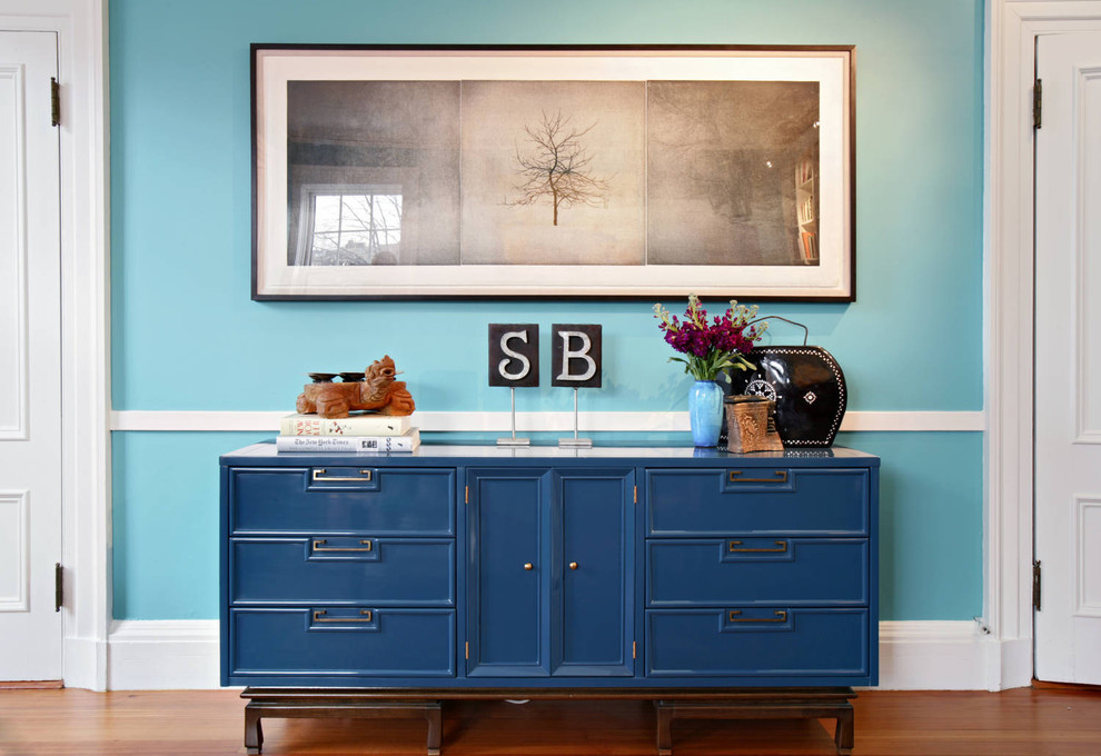 Sideboard Buffet Hall Eclectic With Artwork Blue Entry Hall Blue Sideboard  Blue