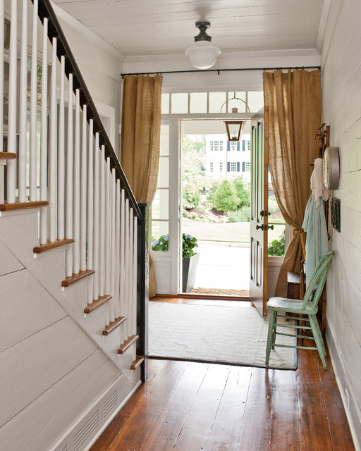 Sidelight Blinds Entry Farmhouse with Burlap Curtains Ceiling Light Distressed Paint Entry Hall Farmhouse