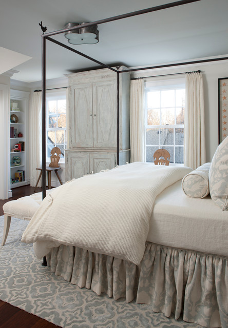 Silk Duvet Cover Bedroom Traditional with Area Rug Armoire Bed Skirt Blue Painted Ceiling Built In