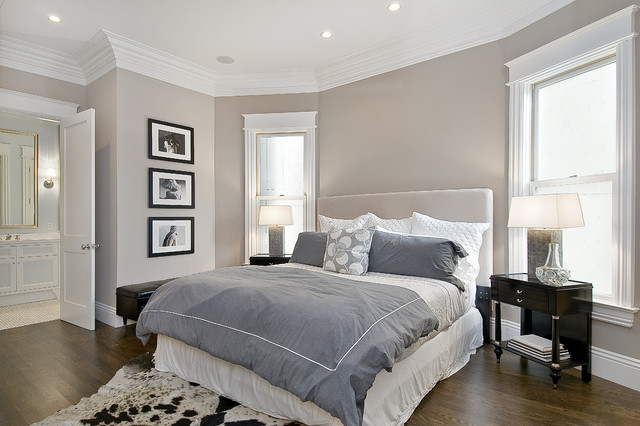 Silk Duvet Cover Bedroom Traditional with Artwork Bed Side Table Cow Hide Crown Molding Gray