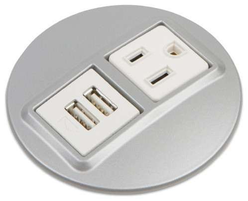 Silver Charger Plates with Convenience Outlet Electrical Power Grommet Power Outlets Powered Usb