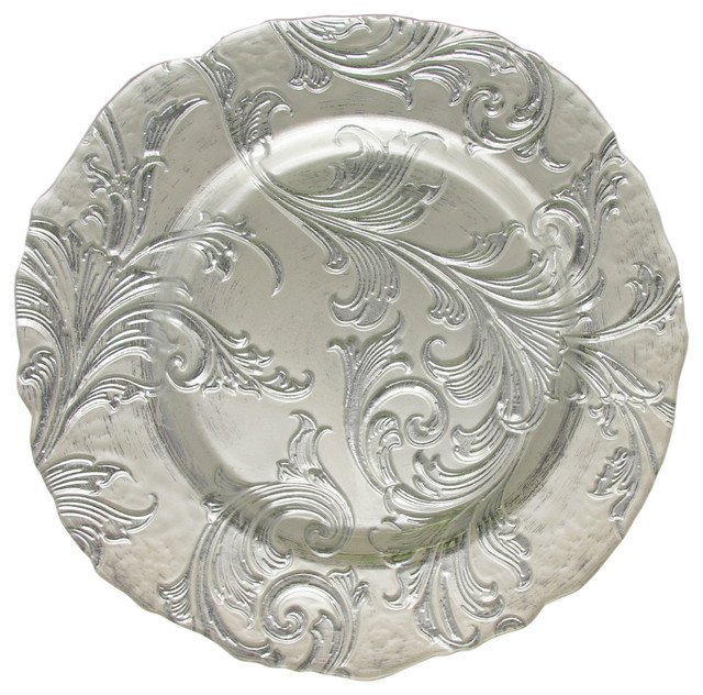 Silver Charger Plates with Decorative Place Setting Decorative Silver Plate Decorative Tableware Floral