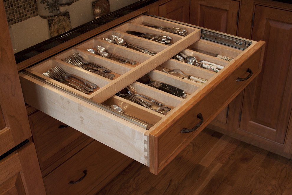 Silverware Caddy Kitchen Traditional with Beaded Inset Black Galaxy Cherry Cabinets Cove