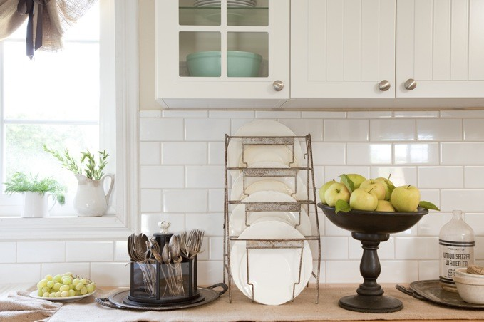 silverware caddy Kitchen Traditional with caddy fresh fruit ironstone pedestal plate holder