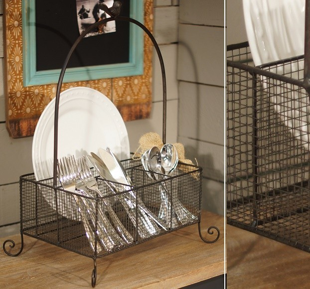 Silverware Caddy Spaces with Country Farmhouse Home Decor Shabby Chic Vintage