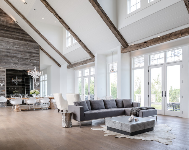 simmons sectional Living Room Beach with animal hide rug clerestory windows contemporary design exposed beams