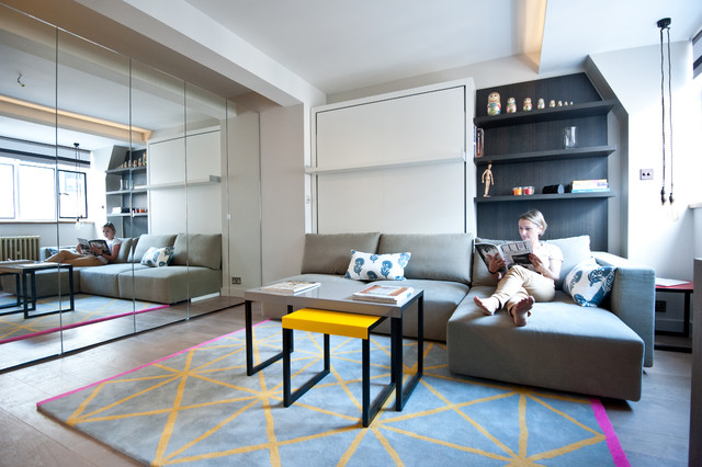 Simmons Sectional Living Room Contemporary with Carpet Coffee Table Large Sofa Mirrored Wall Mirrored Wardrobe