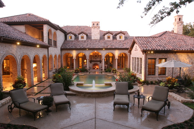 Simmons Sectional Pool Mediterranean with Archways Clay Tile Roof Dormer Windows Outdoor Chaise Lounge