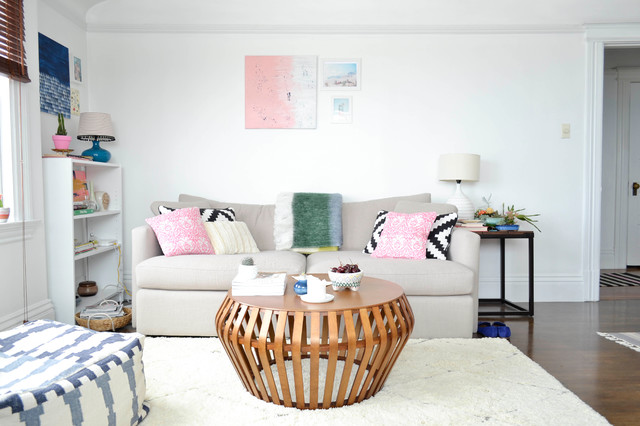simmons sofa Living Room Eclectic with beige couch beni ourain rug bentwood coffee table black