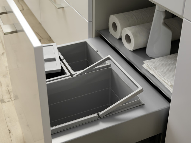 Simplehuman Trash Bags Kitchen Contemporary with Brushed Metal Handles Garbage Shelf Hidden Storage Integrated Waste