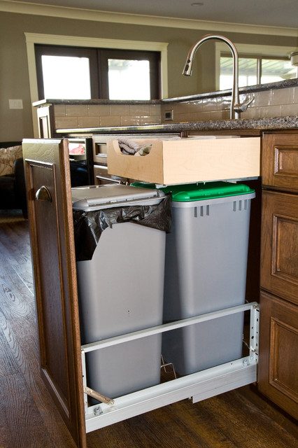 simplehuman trash bags Kitchen Traditional with American Walnut Stain custom corbels finished interior garbage pullout