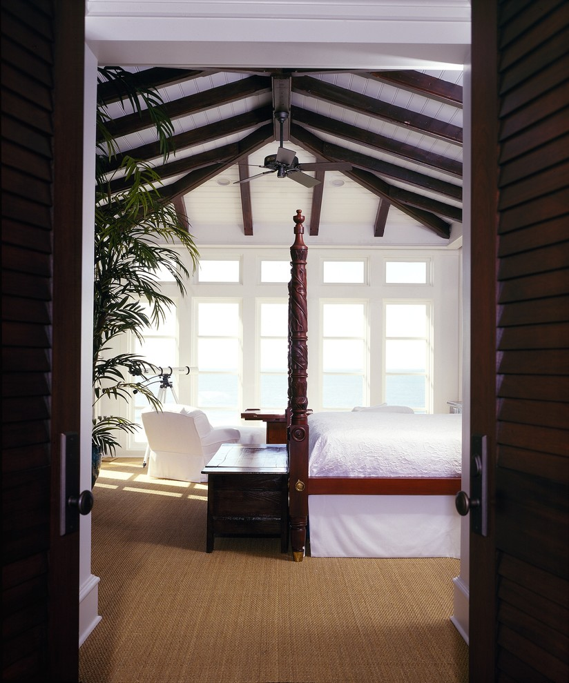 Sisal Carpet Bedroom Tropical with Bed Ceiling Fan Dark Wood and White