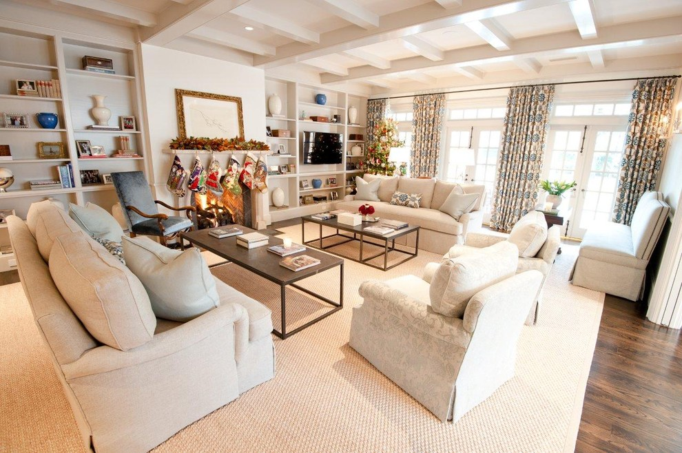 Sisal Carpet Living Room Traditional with Area Rug Built in Shelves Built In