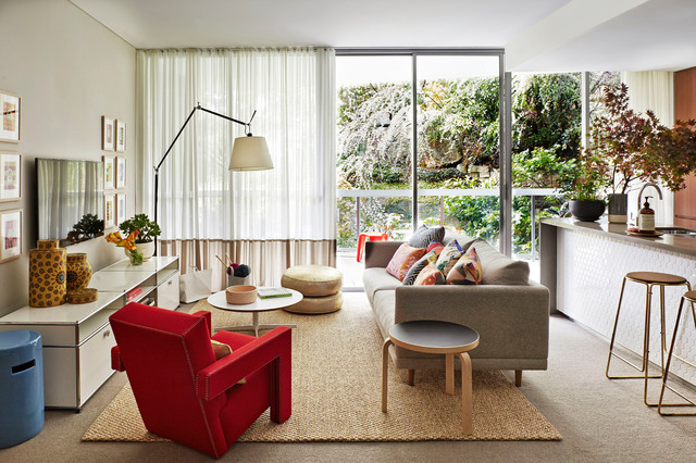sisal rug Living Room Contemporary with beautiful bold brave calm colour decorative decorative objects family