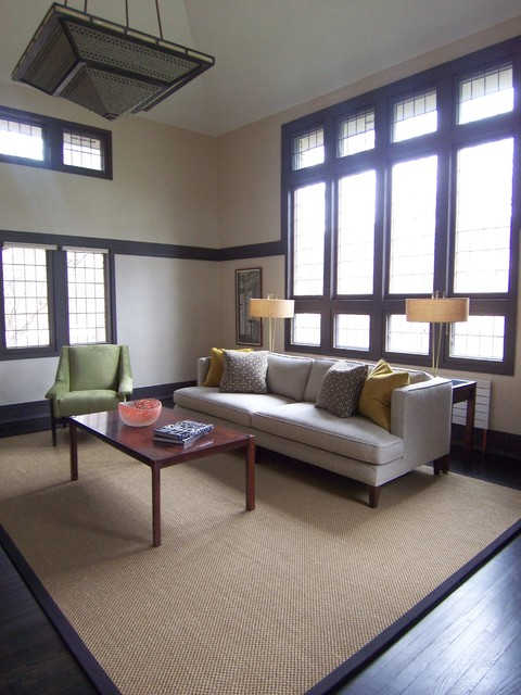 Sisal Rug Living Room Modern with Cathedral Ceiling Coffee Table Dark Wood French Windows Rug