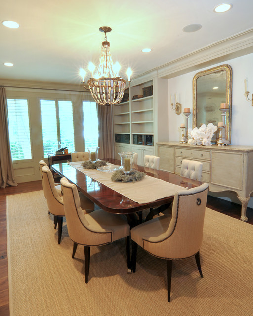 Sisal Rugs Dining Room Traditional with Chandelier Dining Table Elegant Gold Mirror Mirror Side Board