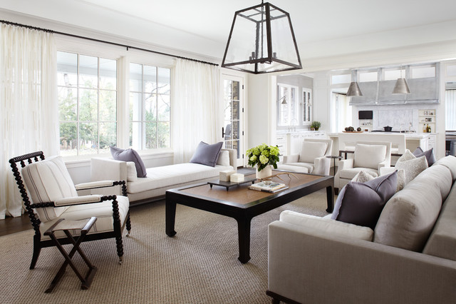 Sisal Rugs Family Room Transitional with Beige Sofa Gray Wall Green Flowers Iron Coffee Table