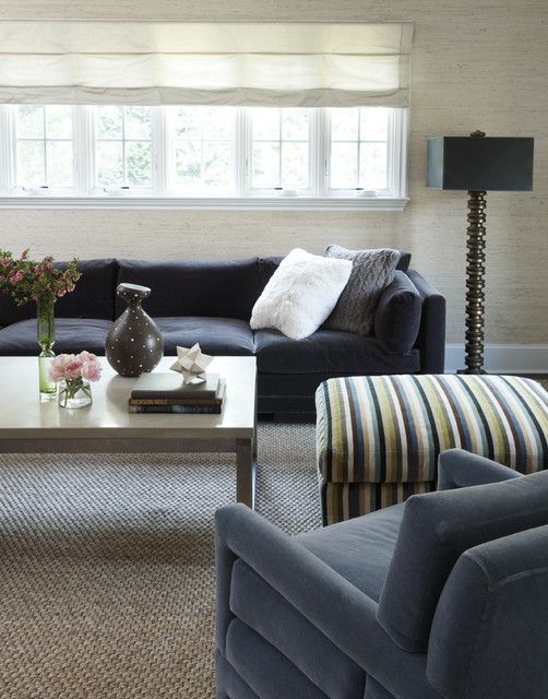 Sisal Rugs Living Room Contemporary with Black Sofa Black Table Lamp Blue Armchair Chunky Knit