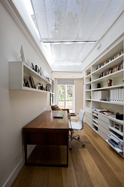 Skylight Shades Home Office Contemporary with Built in Shelves Ceiling Treatment Glass Doors Long Room