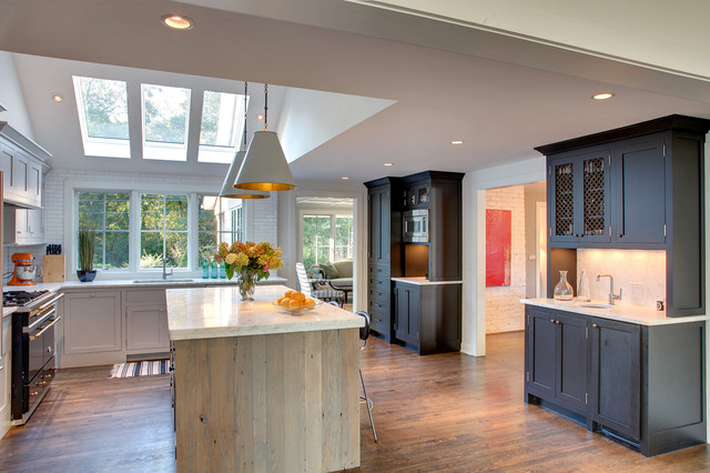 skylight shades Kitchen Traditional with black cabinets goodman pendant hardwood floors marble counter modern