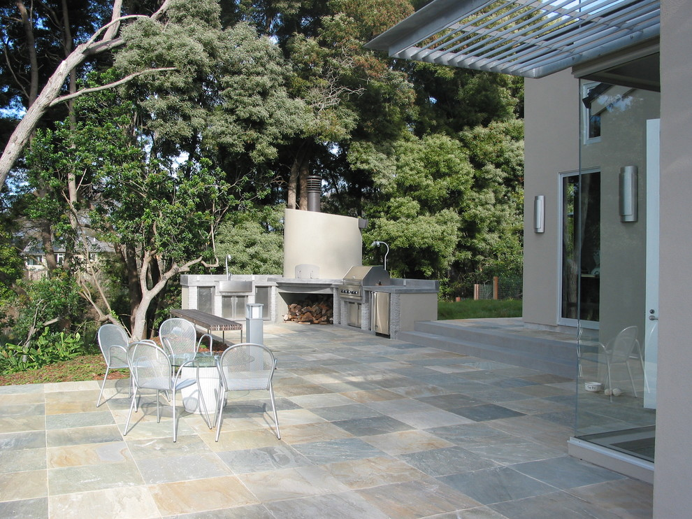 Slate Pavers Landscape Contemporary with Barbecue Firewood Storage Grill Outdoor Kitchen Patio