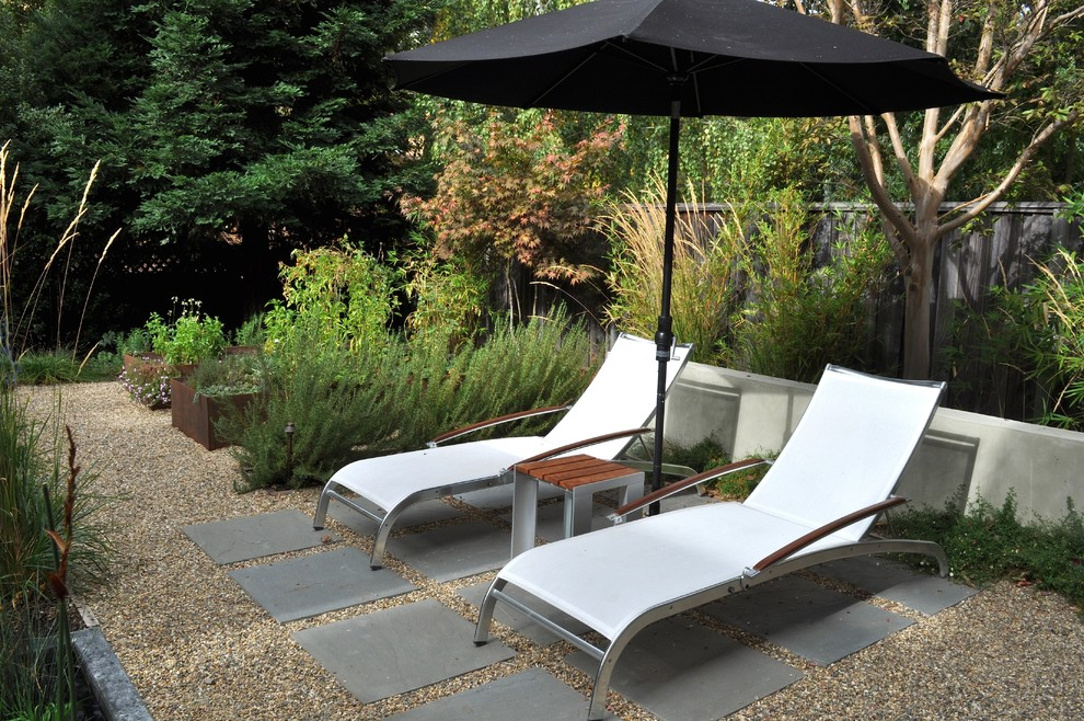 Slate Pavers Landscape Traditional with Chaise Lounge Gravel Path Patio Furniture Patio