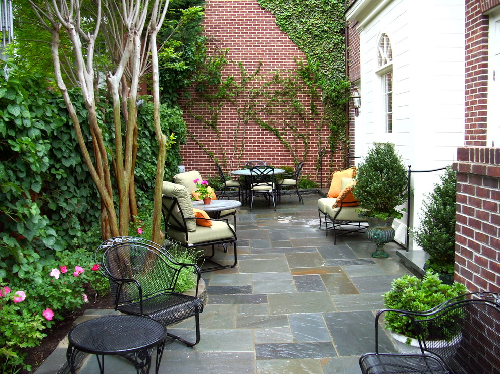 Slate Pavers Patio Traditional with Brick Wall Climbing Plants Container Plants Decorative