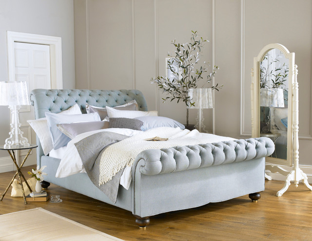 Sleep Science Mattress Bedroom Contemporary with Beautiful Bed Bedding Bedstead Blue British Buttoned Chesterfield Design