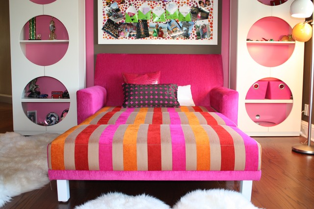 sleeper chair folding foam bed Kids Eclectic with area rug bold colors bookcase bookshelves bright colors bulletin