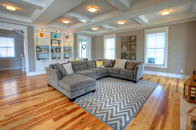 Sleeper Sectional Sofa Living Room Contemporary with Art Collage Artwork Collage Beige Ceiling Beams Beige Coffered