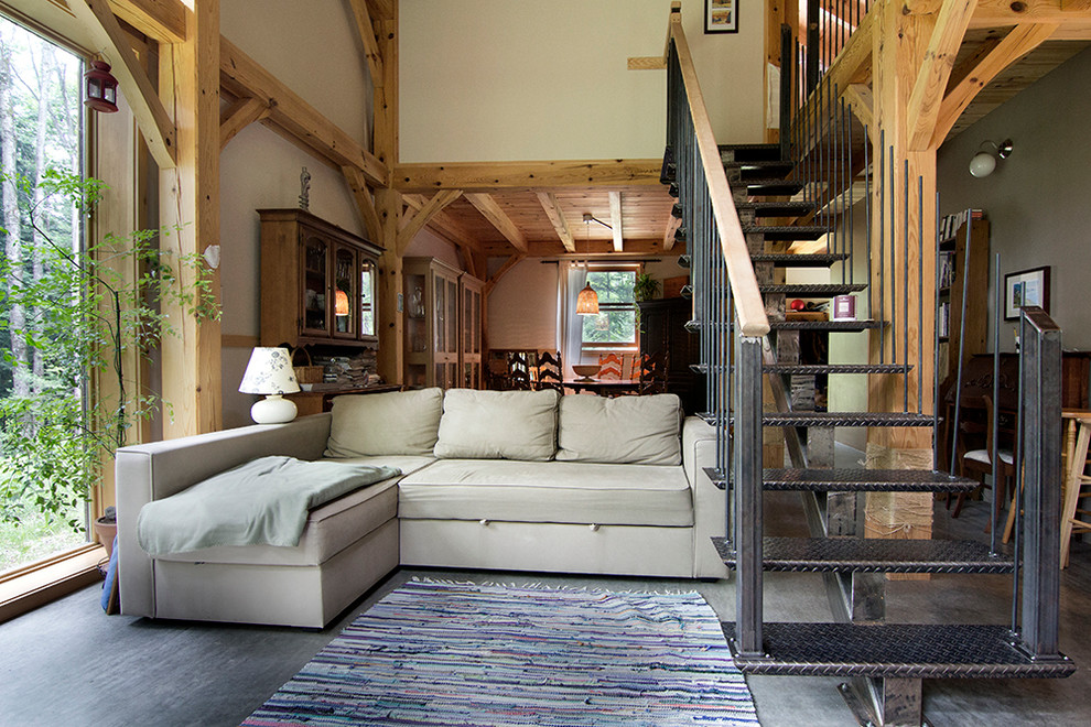 sleeper sofa ikea Living Room Contemporary with black staircase center stringer colorful rug beige