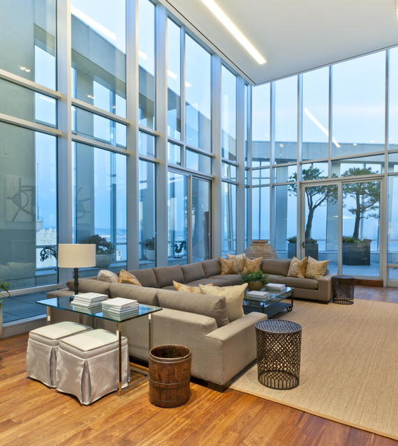 Sleeper Sofa Sectional Family Room Contemporary with Area Rug Corner Windows Decorative Pillows End Table Glass