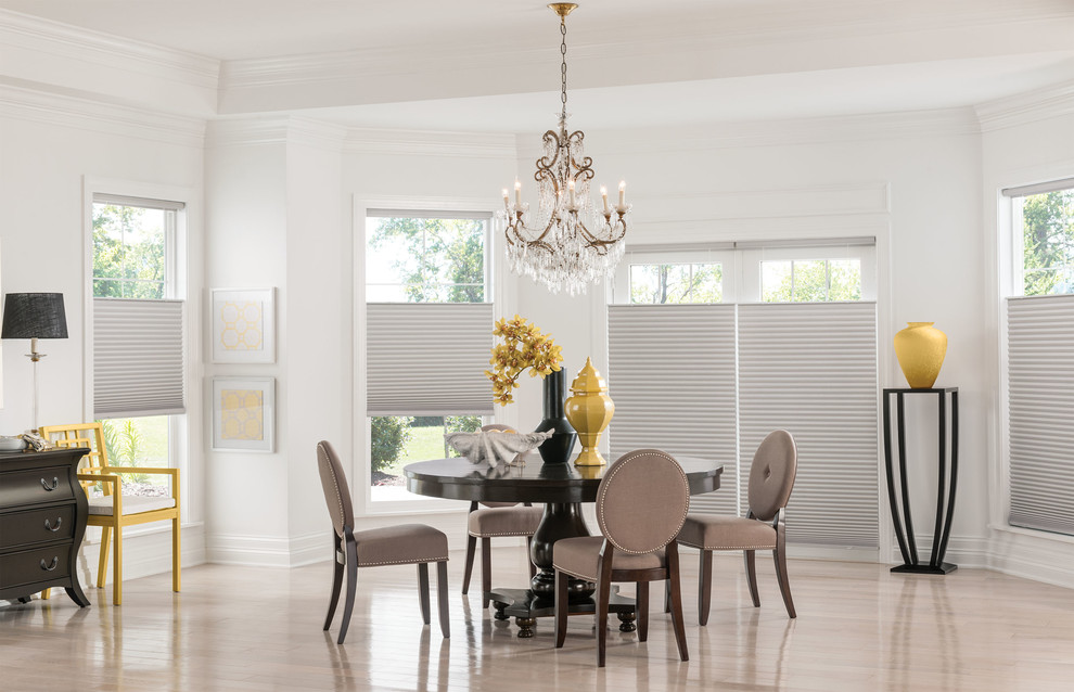 sliding glass door window treatments dining room with cellular shades chandeliers curtains dining room drapery - Sliding Glass Door Window Treatments