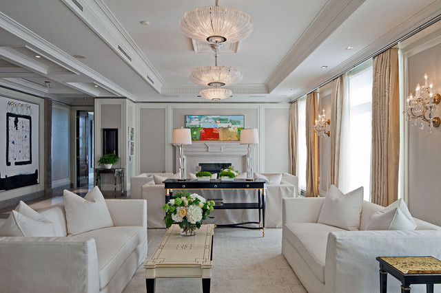 Slipcover Sofas Living Room Traditional with Beige Wall Ceiling Detail Ceiling Light Ceiling Medallion Chandelier
