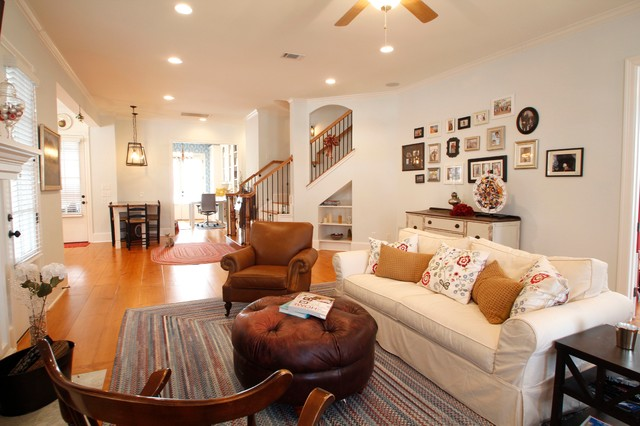 Slipcovered Sofa Family Room Traditional with Blinds Braided Rug Ceiling Fan Family Fireplace Floor Living