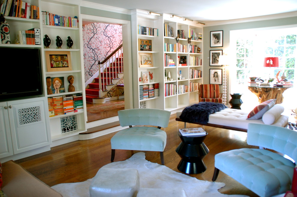 Slipper Chair Living Room Eclectic with Bookcase Bookshelves Built Ins Cowhide Rug Crown