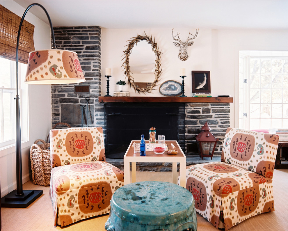 slipper chair Living Room Shabby-chic with antlers arc lamp colorful fireplace mantel fireplace