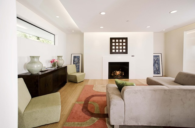 Slipper Chairs Family Room Contemporary with Area Rug Ceiling Lighting Clerestory Corner Sofa Cove Lighting