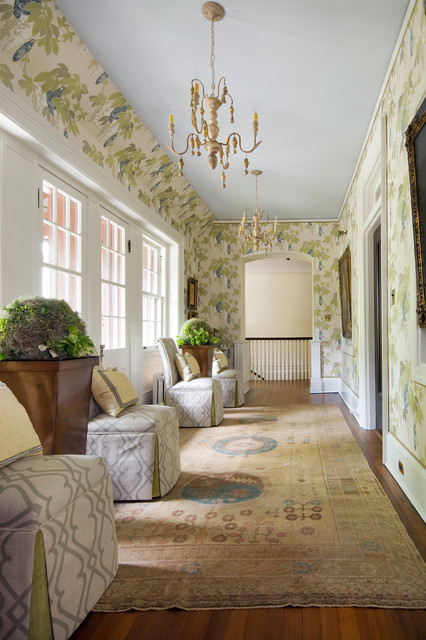 Slipper Chairs Hall Traditional with Area Rug Baseboards Chandelier Chinese Lanterns Currey and Co