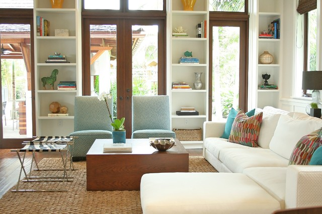 Slipper Chairs Living Room Contemporary with Aqua Built in Bookshelves Coffee Table Dark Stained Wood French