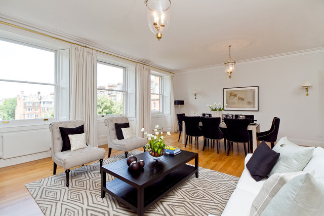 Slipper Chairs Living Room Contemporary with Area Rug Bell Pendant Black and White Curtains Double
