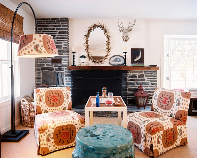 slipper chairs Living Room Shabby-chic with antlers arc lamp colorful fireplace mantel fireplace screen garden