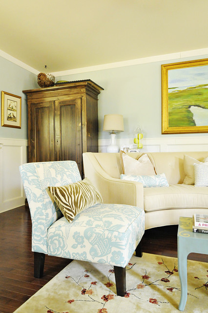 Slipper Chairs Living Room Traditional with Area Rug Artwork Blue Walls Floral Print Neutral Colors