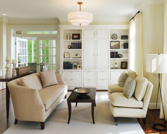 Slipper Chairs Living Room Transitional with Area Rug Baseboards Built in Cabinets Built in Shelves Couch Cream