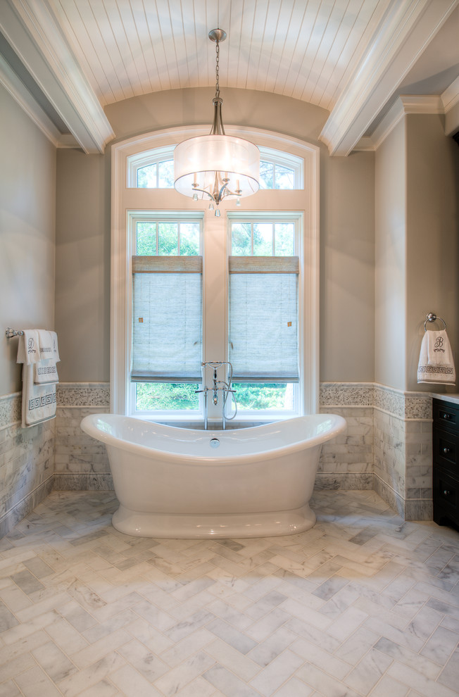 Slipper Tub Bathroom Traditional with Barrel Vault Curved Ceiling Freestanding Tub Gray