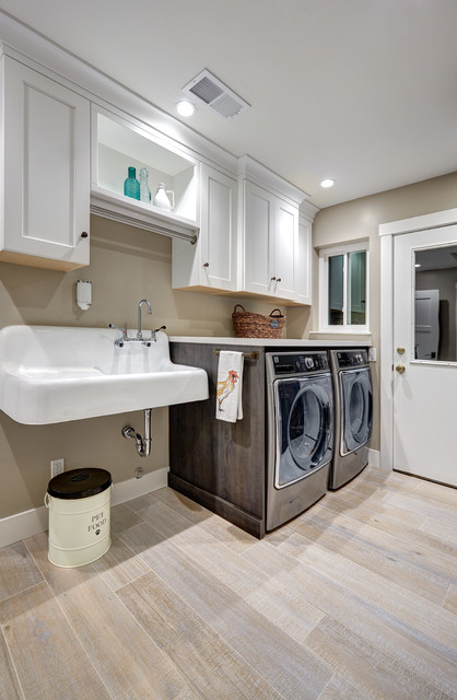 Slop Sink Laundry Room Farmhouse with Recessed Lighting Trash Can Wall Mounted Sink White Cabinets